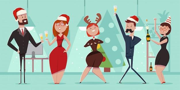 クリスマスオフィスパーティーの漫画の人々のキャラクター。 Premiumベクター