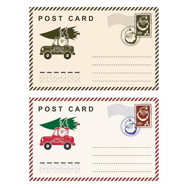 白で隔離スタンプテンプレート休日の手紙とクリスマスのポストカード。 Premiumベクター