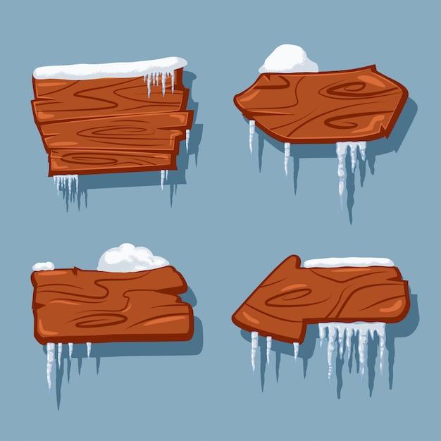 雪とつらら漫画セットに分離された空白の木製看板。 Premiumベクター