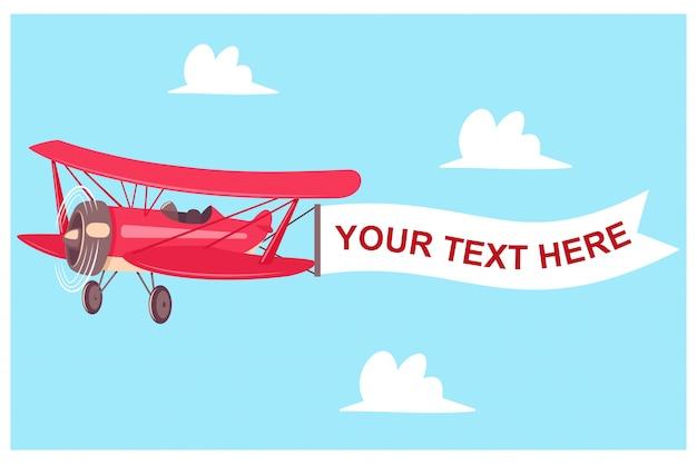 Красный самолет с баннером полета на фоне неба с облаками Premium векторы