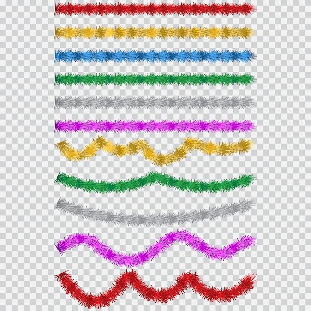 Новогодняя мишура. изолированная гирлянда шаржа вектора простая в других цветах. элемент декора праздника и вечеринки. Premium векторы