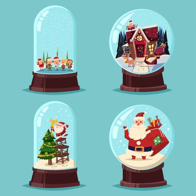 Рождественский снег глобус векторный мультфильм набор. стеклянный шар с санта-клауса, дерево, дети и дом изолированы. Premium векторы