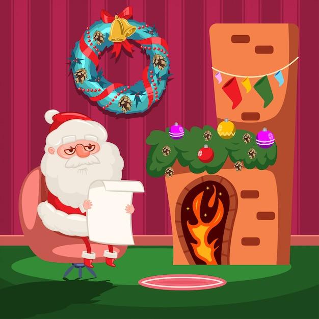 Санта-клаус читает список пожеланий у камина. Premium векторы