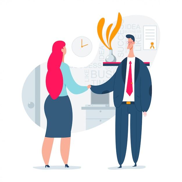 男と女の雇用インタビューの概念図。採用プロセスの人的資源。ビジネススタッフを雇うベクトルフラット文字。 Premiumベクター