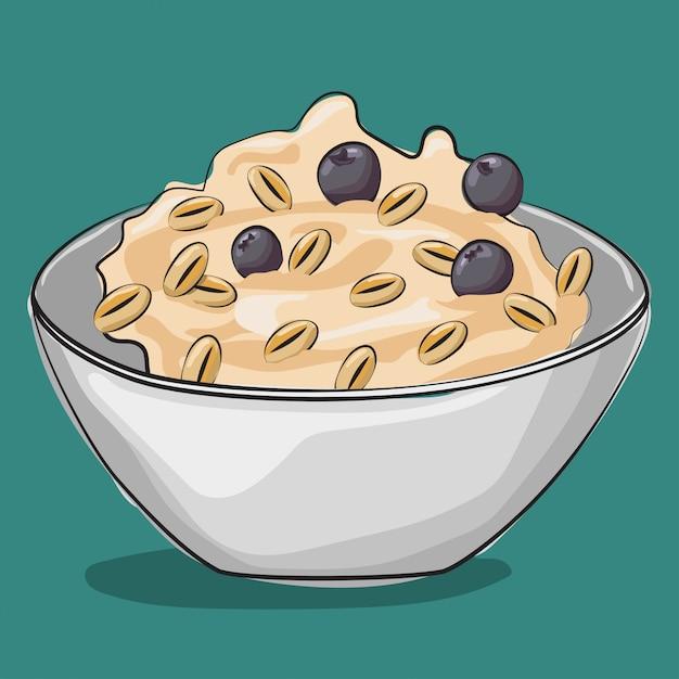 ブルーベリーとオートミール。伝統的な朝食。に分離された漫画食品イラスト。 Premiumベクター