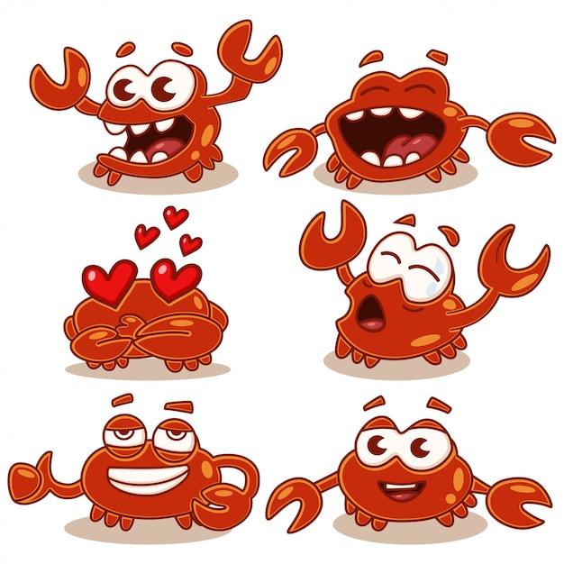 Набор символов шаржа милый и смешной краба изолированный на белизне. морские и океанские животные. Premium векторы
