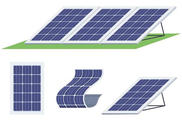 ソーラーパネルセット。さまざまな形の太陽エネルギー電池 Premiumベクター