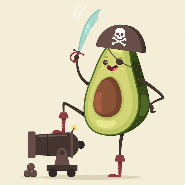 Забавный пиратский авокадо в шляпе, повязке на глазу, мече и пушке с мячом Premium векторы