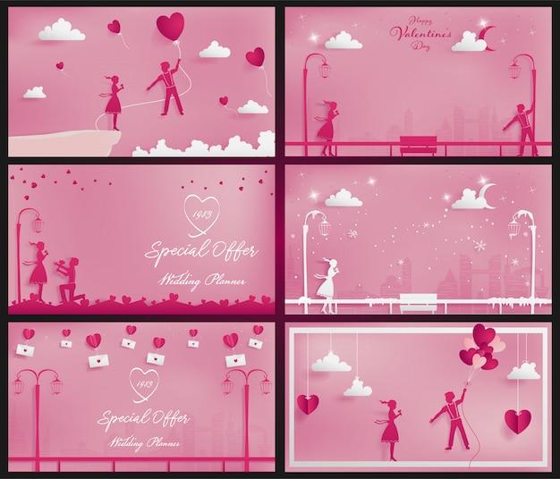 ペーパークラフトスタイルとしてピンクをテーマにした甘いカップルの背景のセット Premiumベクター