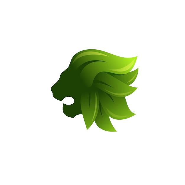 Лев и логотип листьев Premium векторы