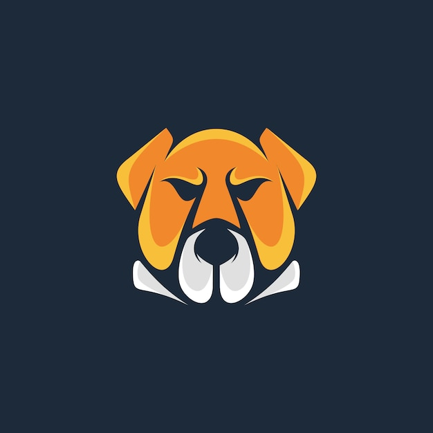 ヘッドブル犬のロゴのテンプレート Premiumベクター