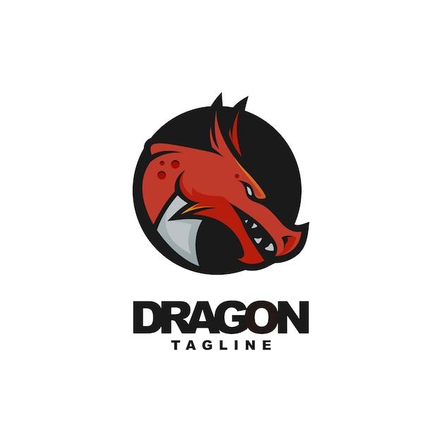 Дизайн логотипа талисмана головы дракона Premium векторы