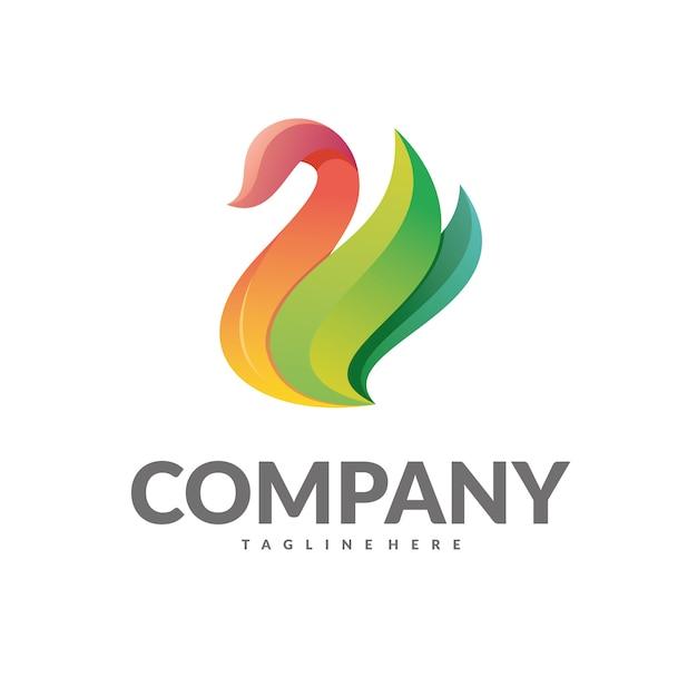 Лебедь логотип вектор Premium векторы