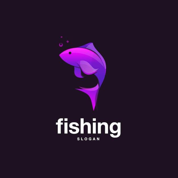 Дизайн рыбы с фиолетовым градиентом Premium векторы