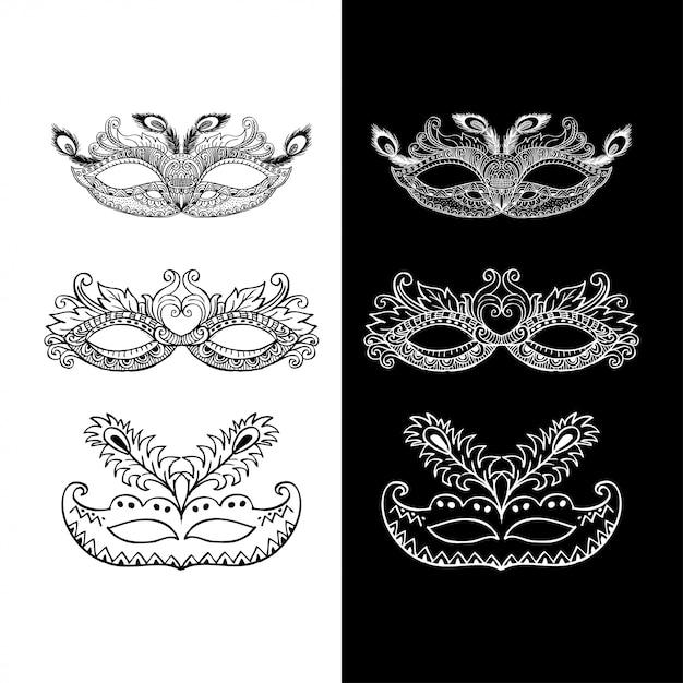 Набор каракули карнавальных масок Premium векторы