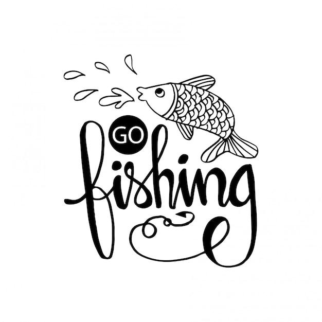 Пойду ловить рыбу надписи Premium векторы