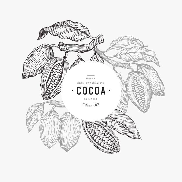 ココア豆の木バナーテンプレート。 Premiumベクター