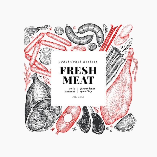 ビンテージ肉製品テンプレート。 Premiumベクター