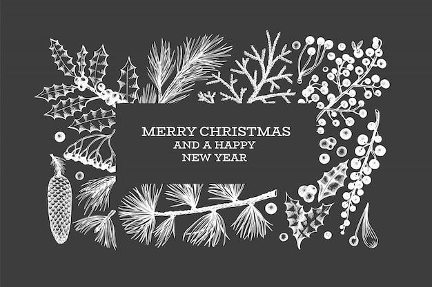 クリスマス手描きグリーティングカードテンプレート。 Premiumベクター