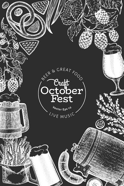 Октябрьфест дизайн шаблона. вектор рисованной иллюстрации на доске мелом. поздравительная открытка фестиваля пива в стиле ретро. Premium векторы