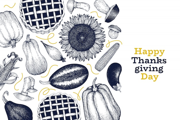 幸せな感謝祭のデザインテンプレート。ベクターの手描きイラスト。レトロなスタイルの感謝祭のグリーティングカード。 Premiumベクター