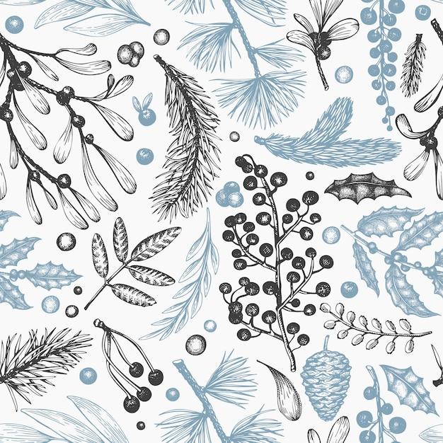 クリスマスのシームレスなパターン。手描きベクトル冬植物。針葉樹、ヒイラギ、ヤドリギのデザイン Premiumベクター