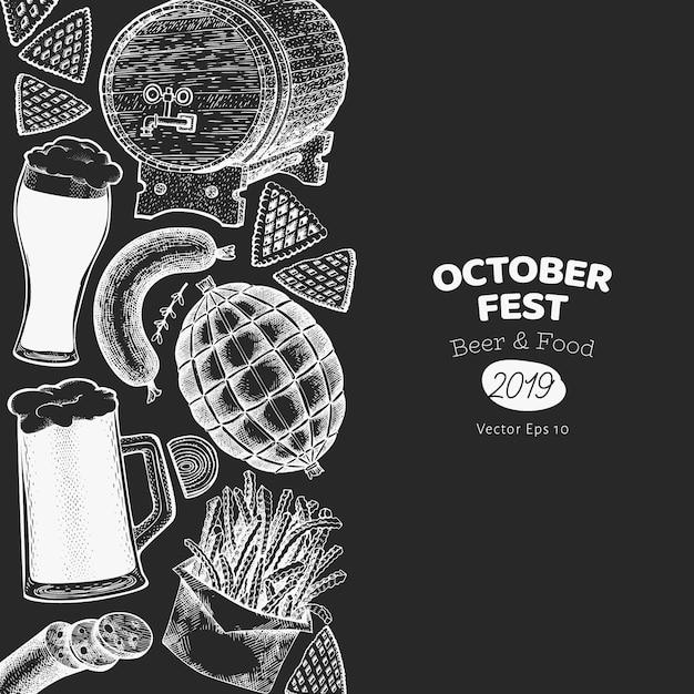 Октоберфест баннер в черном Premium векторы