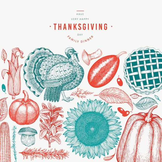 手描きの幸せな感謝祭の要素 Premiumベクター
