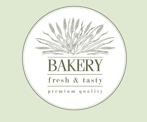 パン屋さんのレトロなパンやビールのロゴ、小麦、ヴィンテージ Premiumベクター