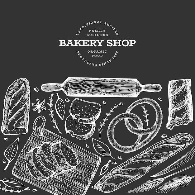 パンとペストリーのバナー。 Premiumベクター