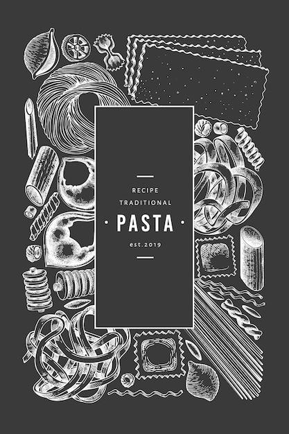 イタリアのパスタテンプレート。手は、チョークボードに食べ物イラストを描いた。刻まれたスタイル。ビンテージパスタのさまざまな種類の背景。 Premiumベクター