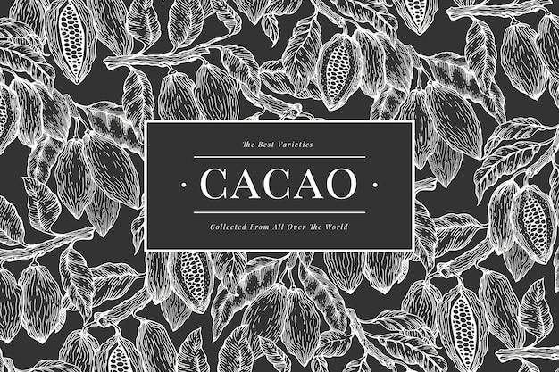 ココアバナーテンプレート。チョコレートカカオ豆の背景。チョークボードに描かれたイラストを手します。ビンテージスタイルの図。 Premiumベクター