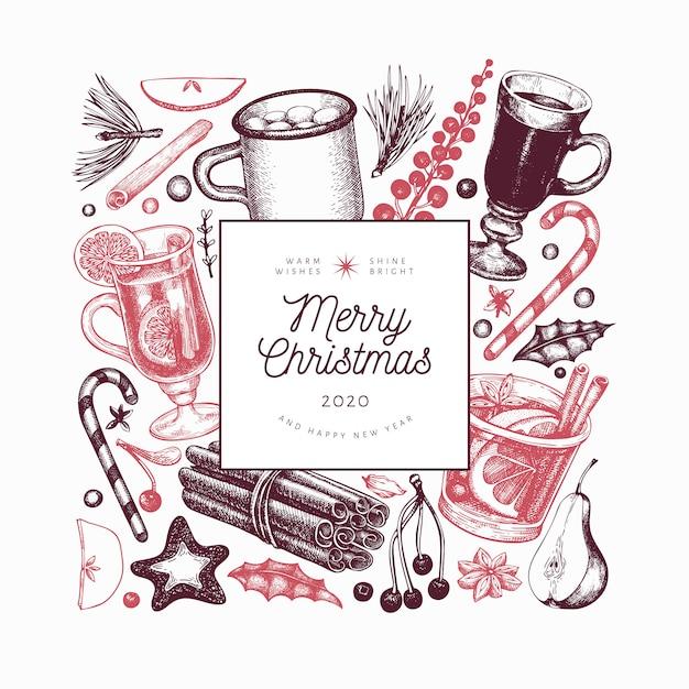 Зимние напитки шаблон. ручной обращается гравированный стиль глинтвейн, горячий шоколад, специи иллюстрации. старинные рождественские фоны. Premium векторы