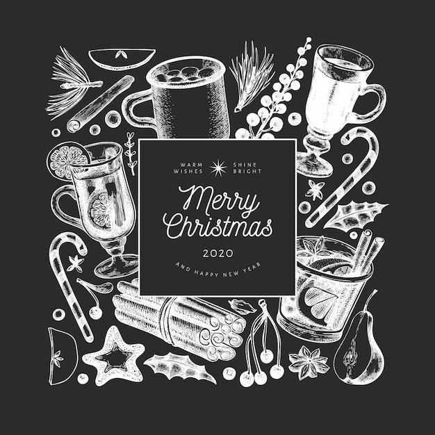 冬の飲み物テンプレート。手描き刻まれたスタイルのグリューワイン、ホットチョコレート、チョークボードのスパイスイラスト。ビンテージクリスマス。 Premiumベクター