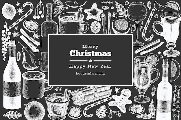 Открытка с новым годом и рождеством. гравированный стиль глинтвейн, горячий шоколад, специи иллюстрации на доске. Premium векторы