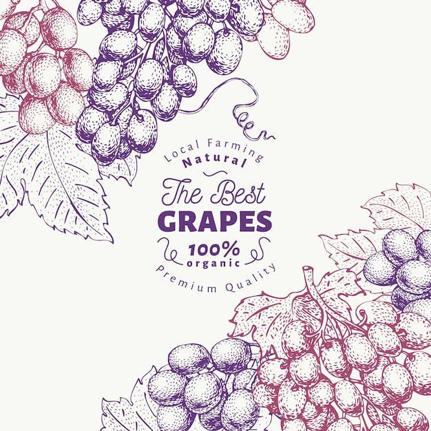 グレープベリーデザインテンプレート。手描きベクトルフルーツイラスト。刻まれたスタイルのレトロな植物の背景。 Premiumベクター