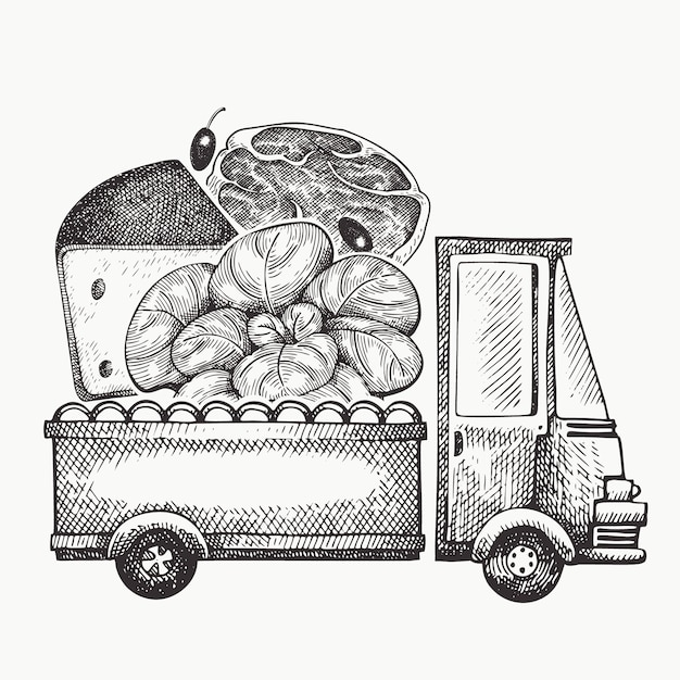 Логотип доставки продуктов питания магазин. ручной обращается грузовик с овощами, сыром и мясом иллюстрации. выгравированный стиль ретро-дизайн еды. Premium векторы