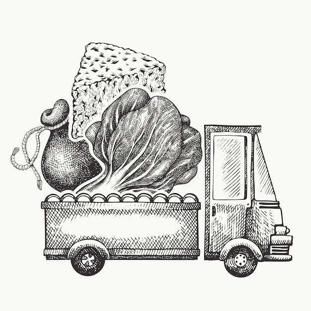 Шаблон логотипа доставки продуктов питания магазин. ручной обращается грузовик с овощами и сыром иллюстрации. выгравированный стиль ретро-дизайн еды. Premium векторы