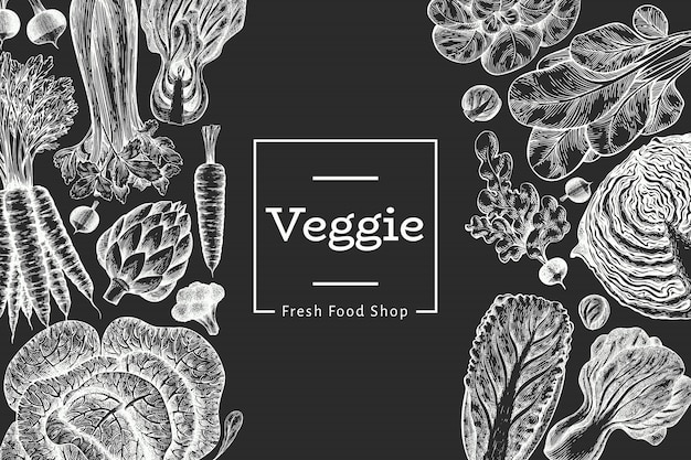 Ручной обращается эскиз овощи дизайн. органические свежие продукты. ретро овощ. гравировка стиль ботанические иллюстрации на доске. Бесплатные векторы