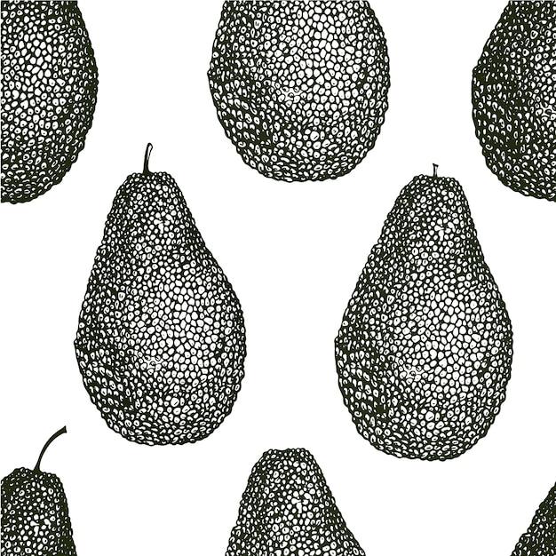 ベクトル手描きアボカドシームレスパターン。アボカド全体ビンテージスタイルの背景。詳細な食品図面。 Premiumベクター
