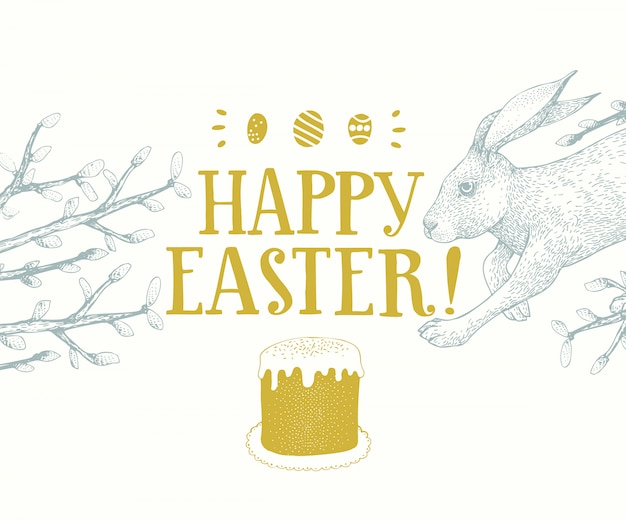 グリーティングカードレタリングと手描きイースターのウサギ。春のベクトル図レトロなスタイル Premiumベクター