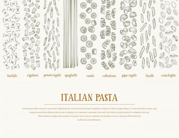 Вектор баннер с разными видами традиционной итальянской пасты. Premium векторы