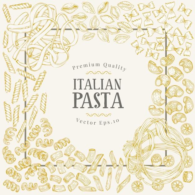 伝統的なイタリアのパスタの種類とベクトルバナーのテンプレート。 Premiumベクター