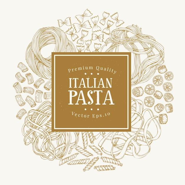 イタリアの伝統的なパスタの種類とベクトルフレーム。 Premiumベクター