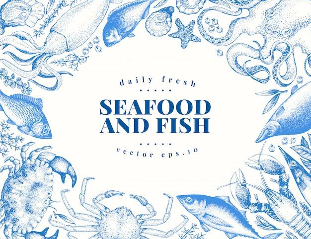 ベクトルビンテージのシーフードと魚料理のレストランのイラスト。 Premiumベクター