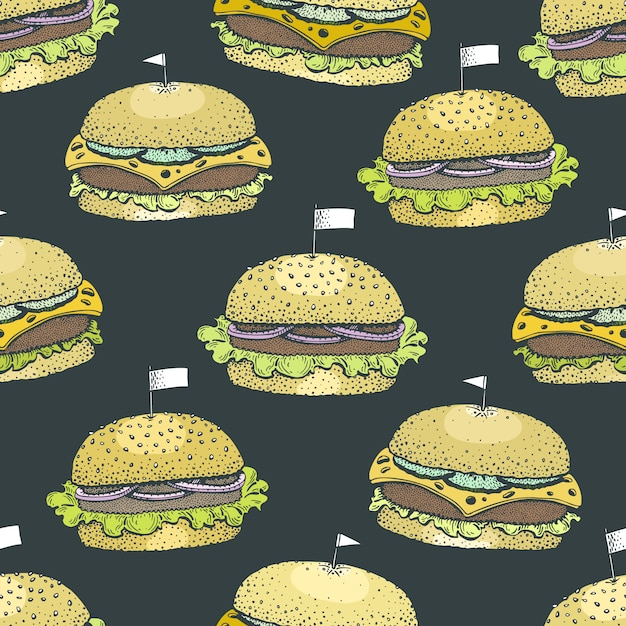 ハンバーガーとシームレスなパターンベクトル。 Premiumベクター