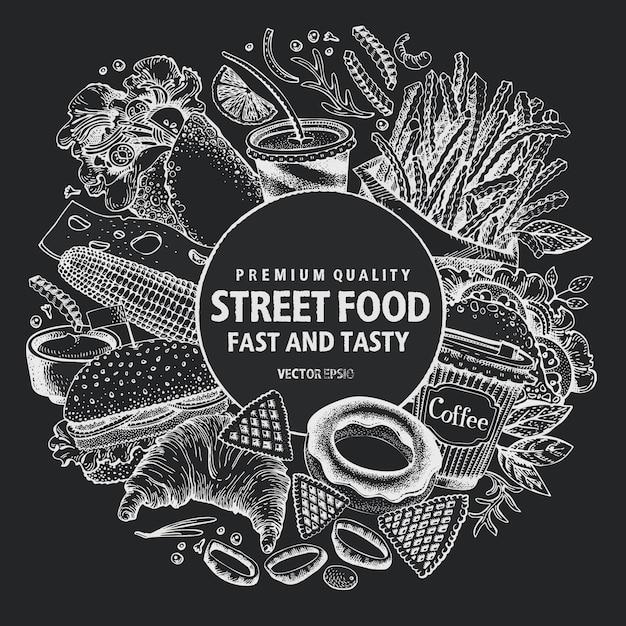 Фаст-фуд векторной рамки. уличная еда баннер дизайн шаблона. Premium векторы