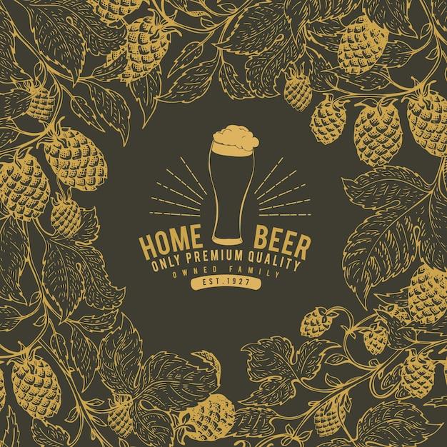 ビールホップのデザインテンプレート。ビンテージビールの背景。 Premiumベクター