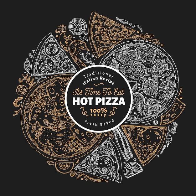 ピザのデザインテンプレート。チョークボードに描かれたベクトルファーストフードイラストを手します。スケッチスタイルのレトロなイタリアのピザの背景。 Premiumベクター