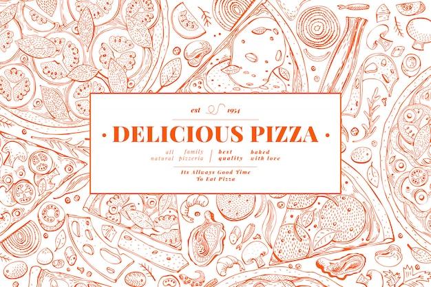 イタリアのピザと食材のフレーム。 Premiumベクター